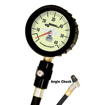 Longacre Deluxe Tire Gauge 0-60 by 1 lb with Angle Chuck